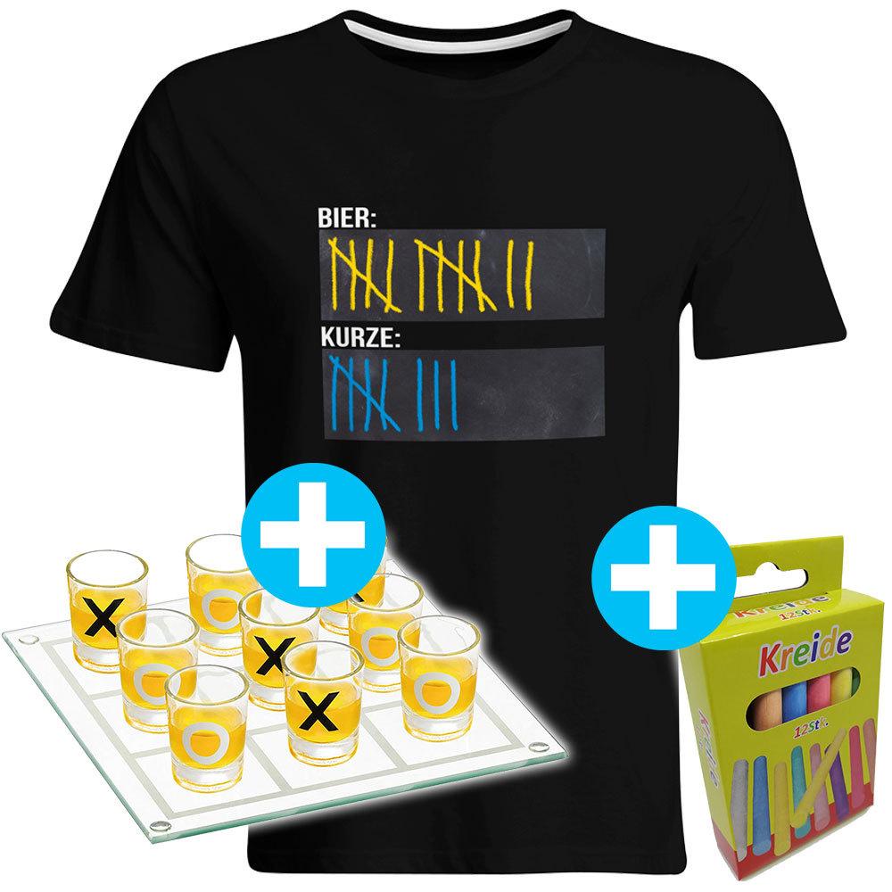 Original Sauf-Counter Classic T-Shirt + Trinkspiel Tic Tac Toe (Damen & Herren, alle Farben) 92054