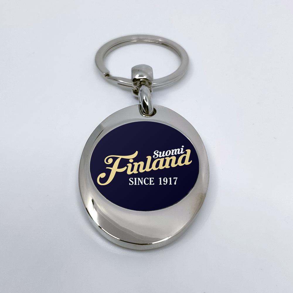 """""""Suomi Finland - since 1917"""" Schlüsselanhänger mit integriertem Einkaufswagen-Chip 92106"""