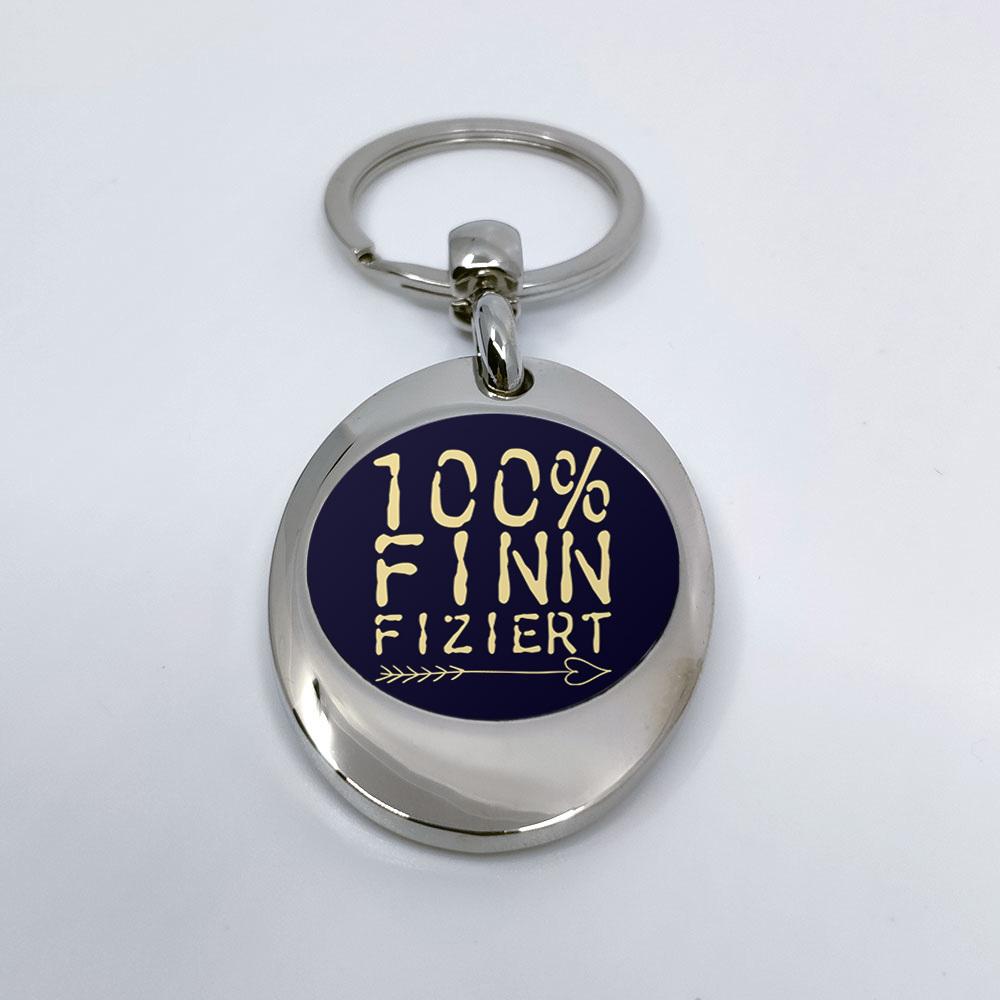 """""""100% finnfiziert"""" Schlüsselanhänger mit integriertem Einkaufswagen-Chip 92111"""