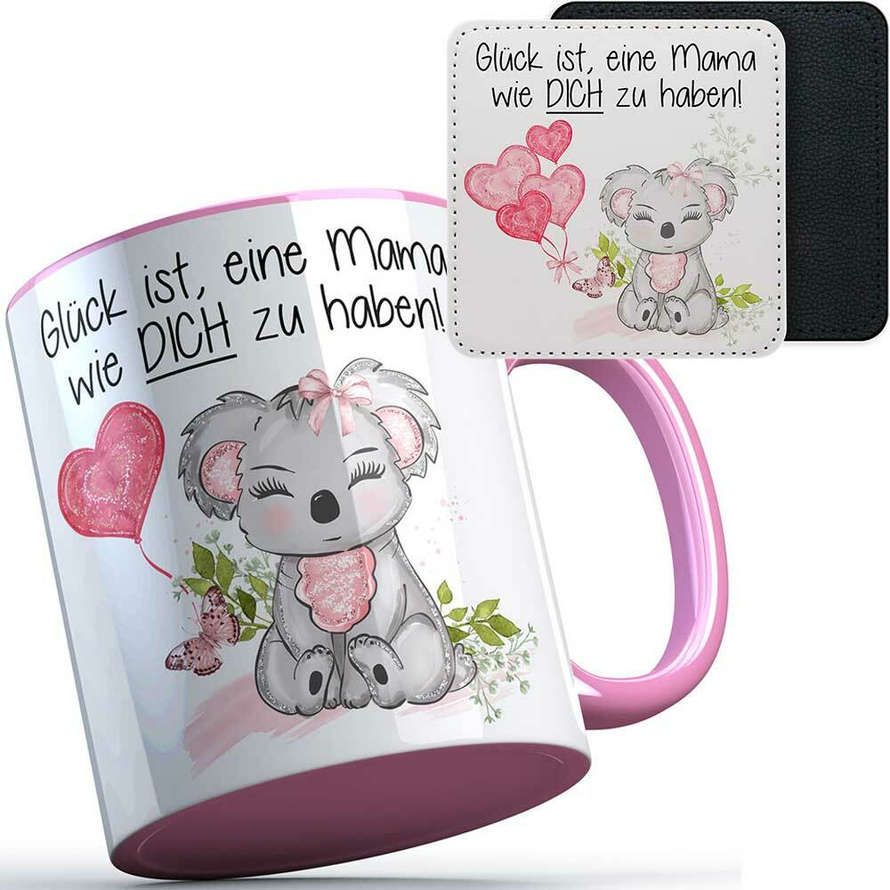 """""""Glück ist, eine Mama wie dich zu haben!"""" Geschenkset mit Tasse & Kunstleder Untersetzer (Geschenk zum Muttertag) 92140"""