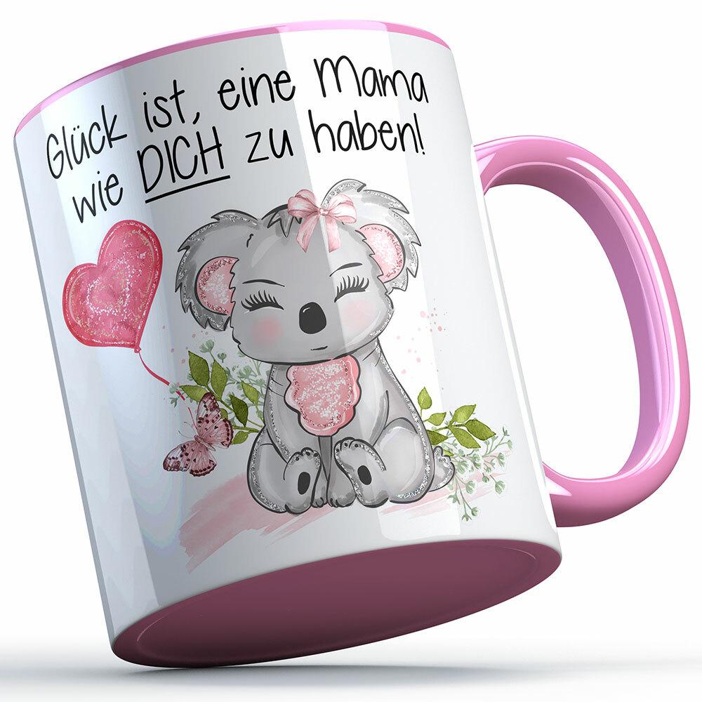 """""""Glück ist, eine Mama wie dich zu haben!"""" Geschenkset mit Tasse & Kunstleder Untersetzer (Geschenk zum Muttertag)"""