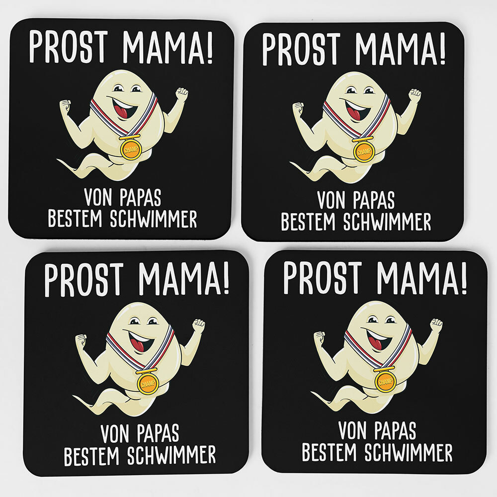 """""""Alles Gute Mama wünscht Papas bester Schwimmer"""" Spermium Tasse (Variante: Blauer Henkel)"""