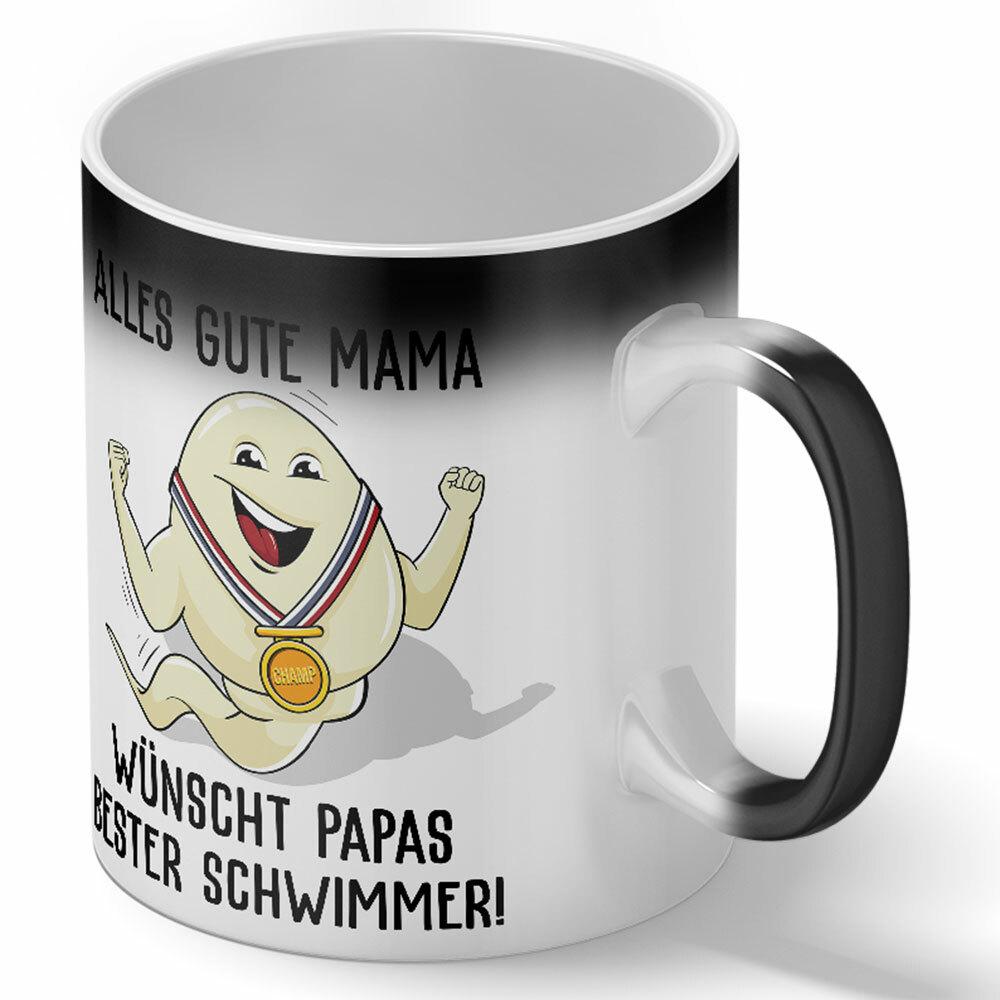 """""""Alles Gute Mama wünscht Papas bester Schwimmer"""" Spermium Tasse (Variante: Zaubertasse mit Farbwechseleffekt) 92157"""