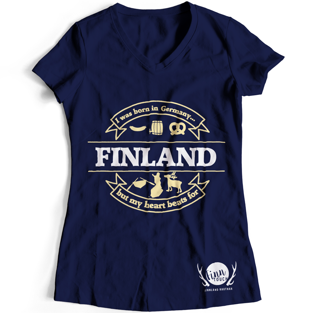 "Girlieshirt ""I was born in Germany, but my heart beats for Finland"" M1-FT 00117"