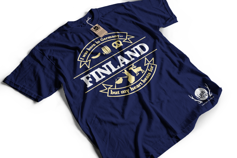 """I was born in Germany, but my heart beats for Finland"" T-Shirt (Men) M1-FT 00126"