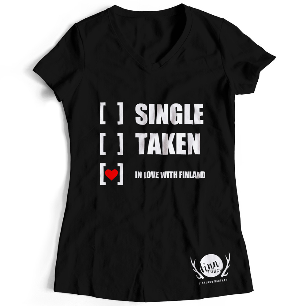 "Girlieshirt ""Single, taken, in love with Finland"" M1-FT 00131"