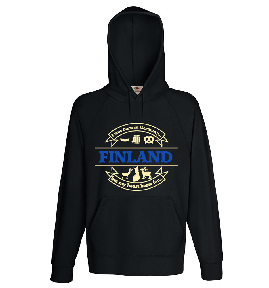 """""""I was born in Germany, but my heart beats for Finland"""" Hoodie (Unisex) M1-FT 00154"""