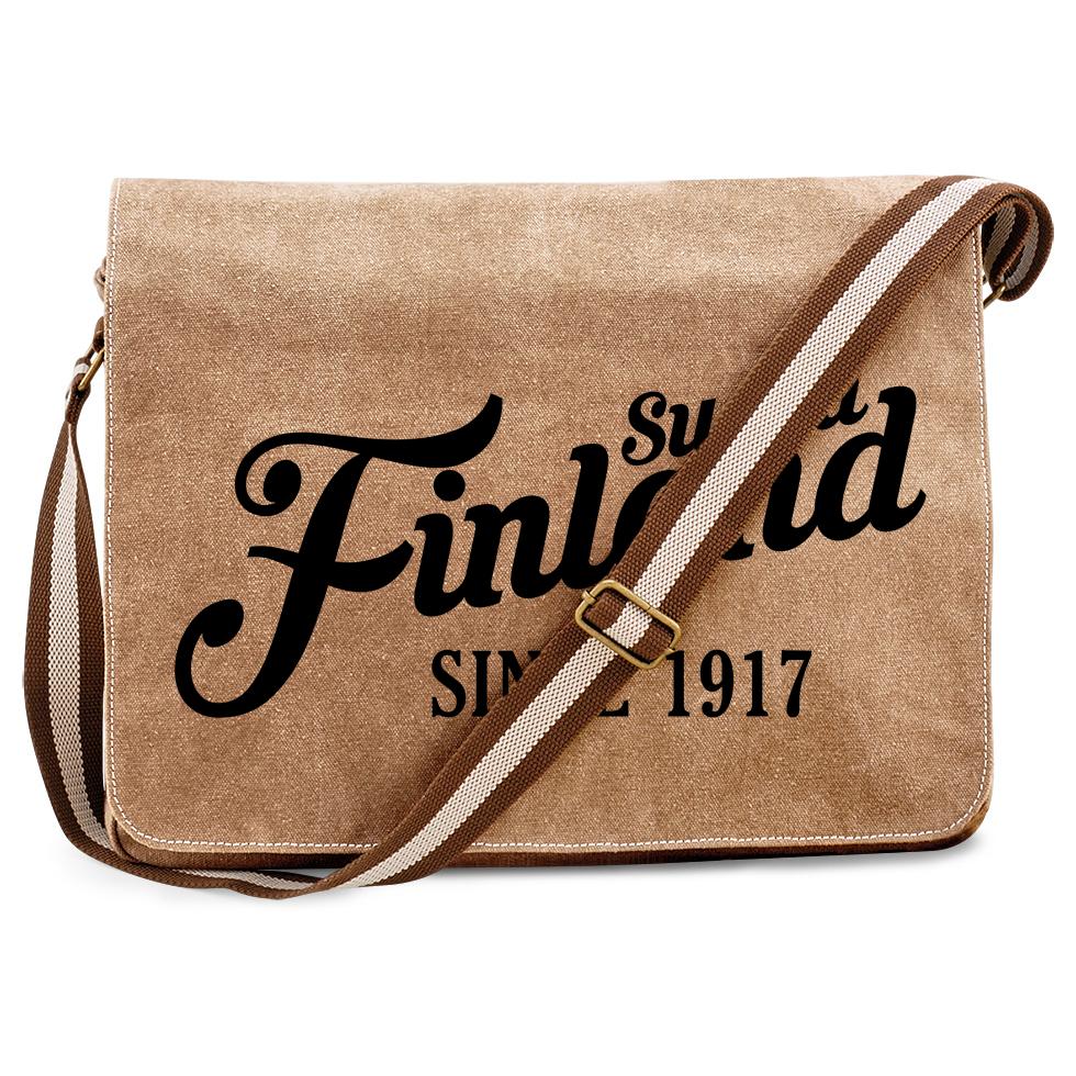 """""""Suomi Finland - since 1917"""" Premium Messengertasche im Vintagelook M1-FT 00161"""