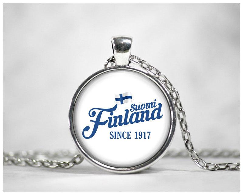 "Halskette mit ""Suomi Finland - since 1917"" Cabochon M1-FT 00185"