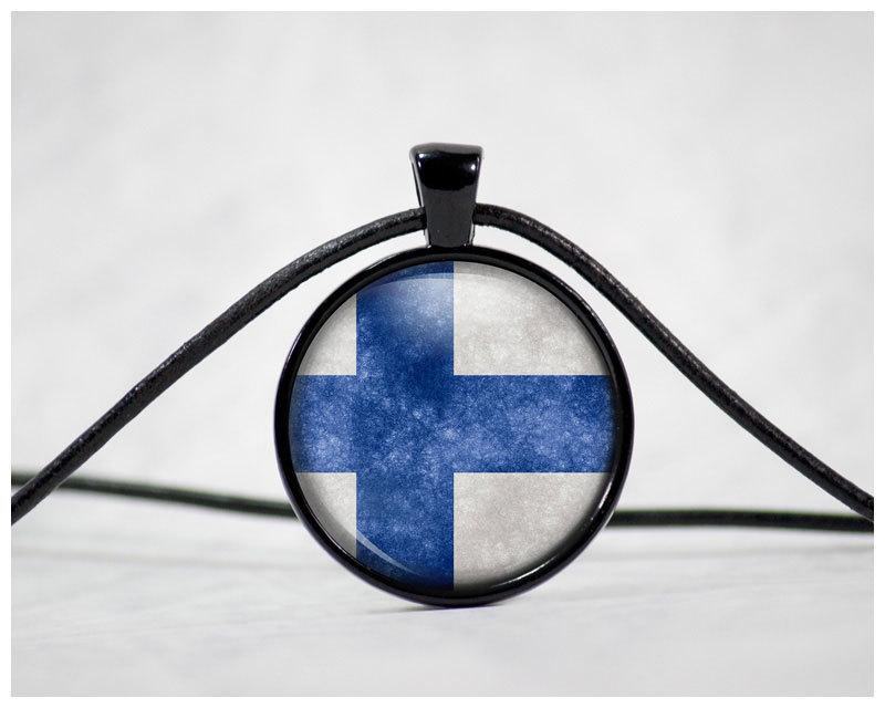 """Finnland-Flagge"" Cabochon mit Lederhalsband M1-FT 00187"
