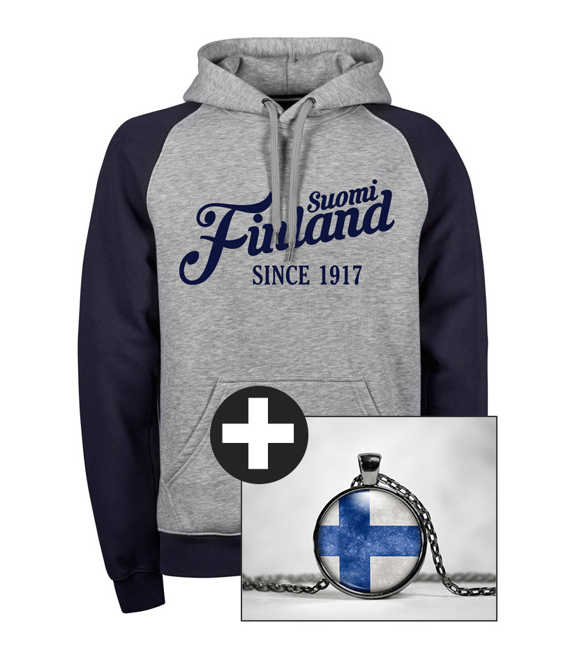 """Suomi Finland - since 1917"" Premium Hoodie + Finnland Kette (Special Anniversary Edition) M1-FT 00190"