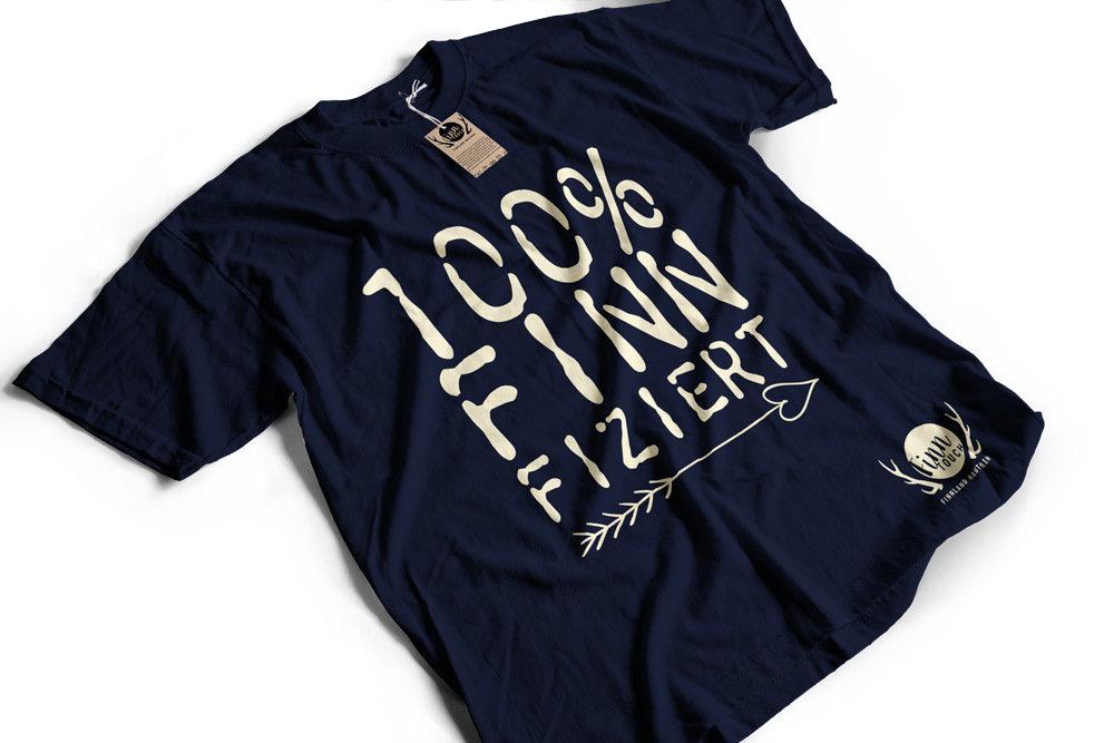 """""""100% finnfiziert"""" Finnland T-Shirt (Herren) M1-FT 00199"""