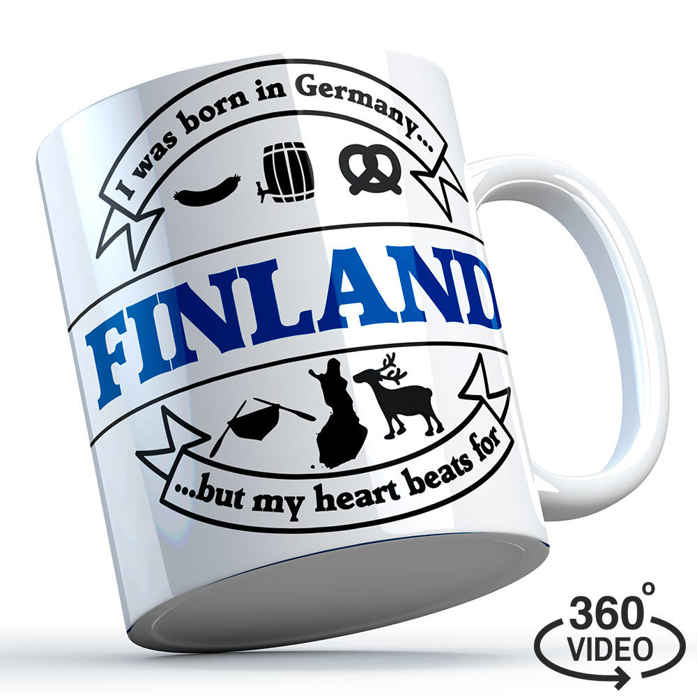 "Finnland Tasse ""I was born in Germany, but my heart beats for Finland"" M1-FT 11131"