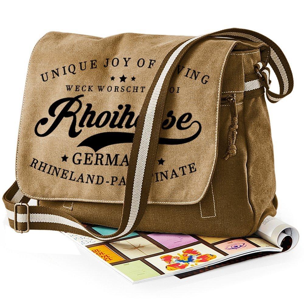 """""""Weck, Worscht & Woi! Rhoihesse"""" Premium Messengertasche im Vintagelook 11213"""