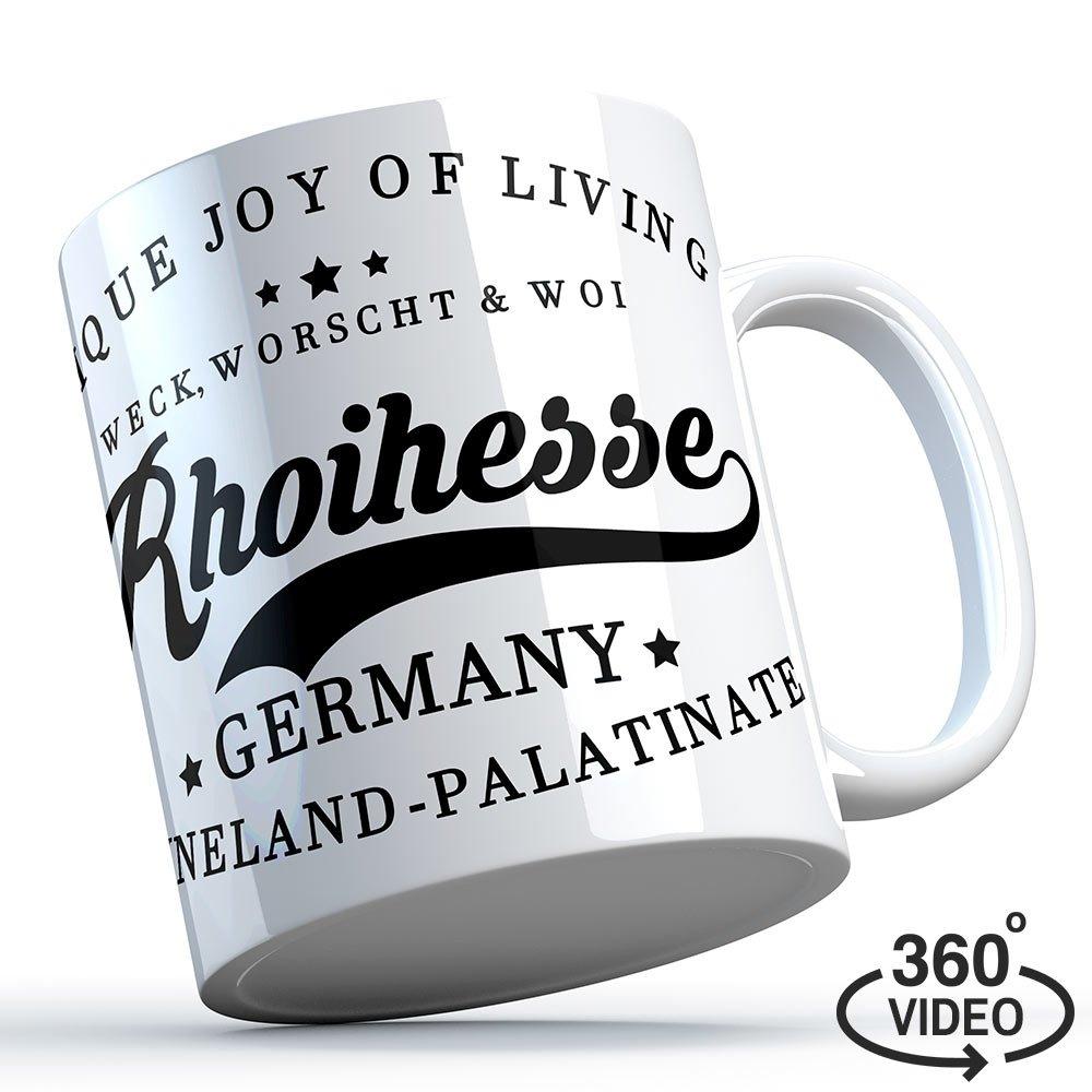 """Weck, Worscht & Woi - Rhoihesse"" Keramiktasse M1-RHL 11220"