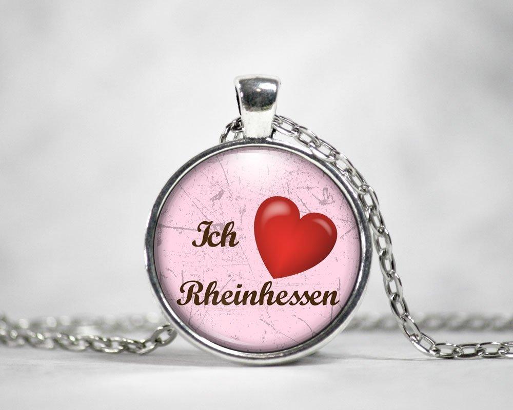"""""""Ich liebe Rheinhessen"""" Halskette Silberoptik M1-RHL 11231"""