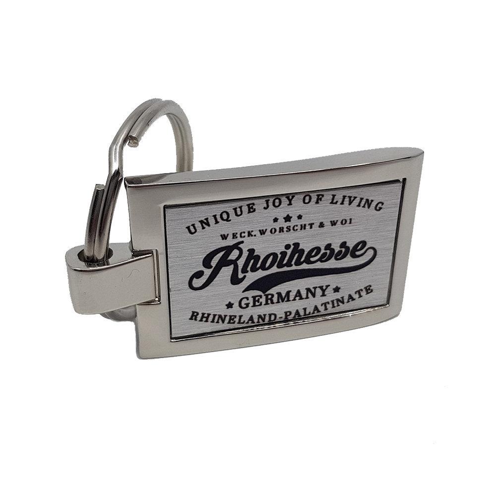 """""""Weck, Worsch & Woi - Rhoihesse"""" Schlüsselanhänger aus Edelstahl (mit 360 Grad Ansicht) 11216"""