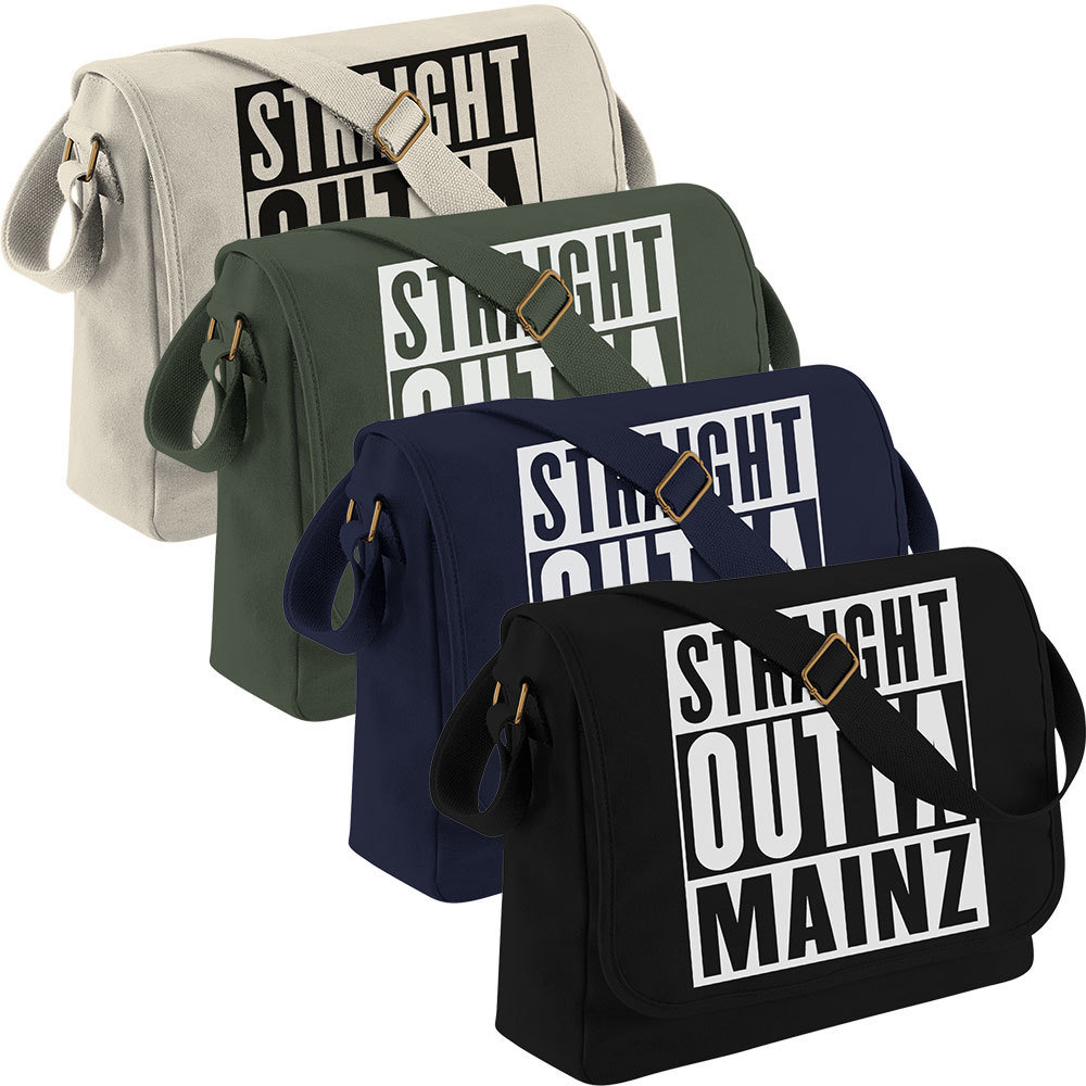 """Straight outta Mainz"" Canvas Messenger Bag 11265"