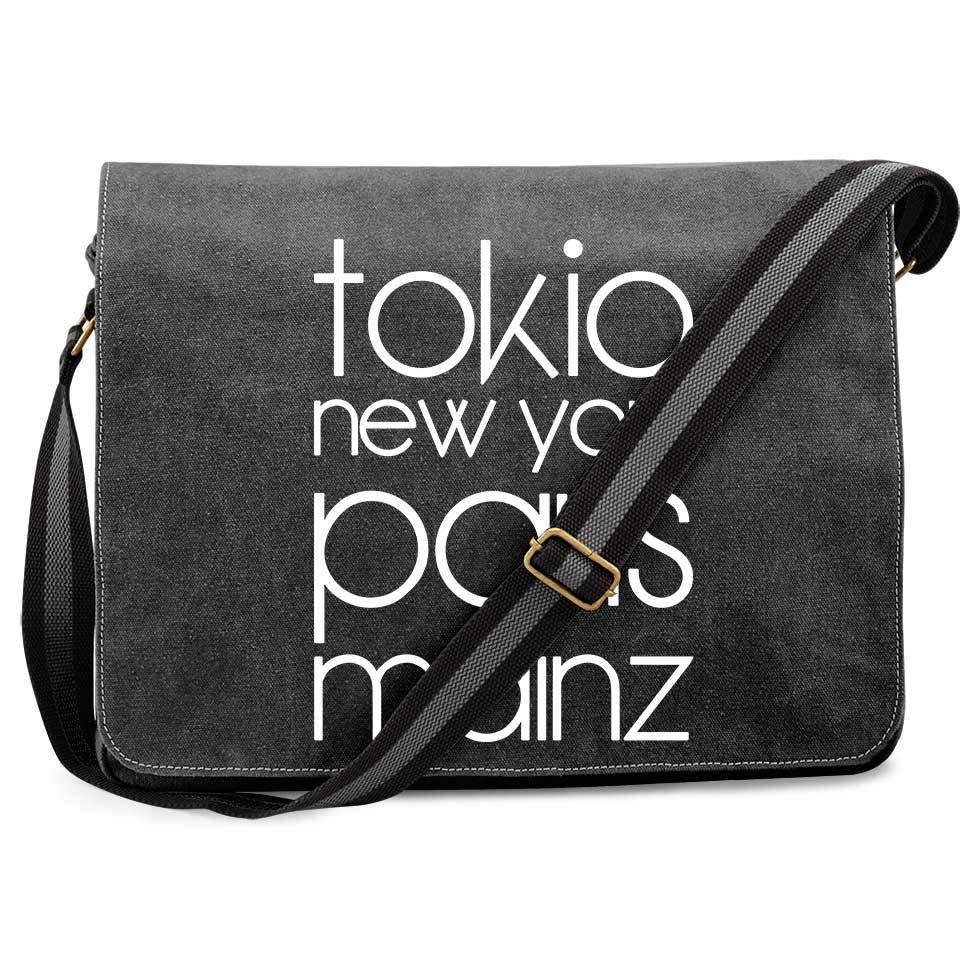 """""""Tokio, New York, Paris, Mainz"""" Premium Messengertasche im Vintagelook 11268"""