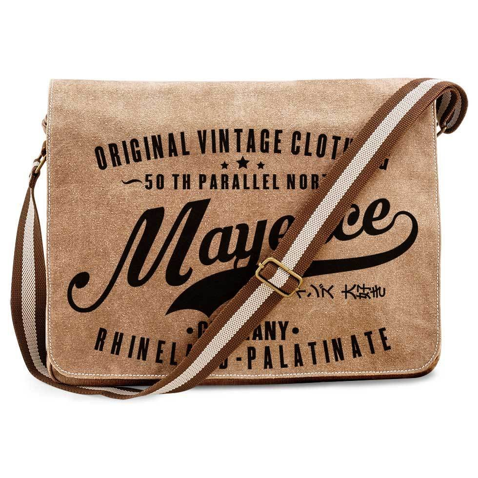 """50 th parallel North - Mayence"" Premium Vintage Messengertasche für alle Mainzer 85754"