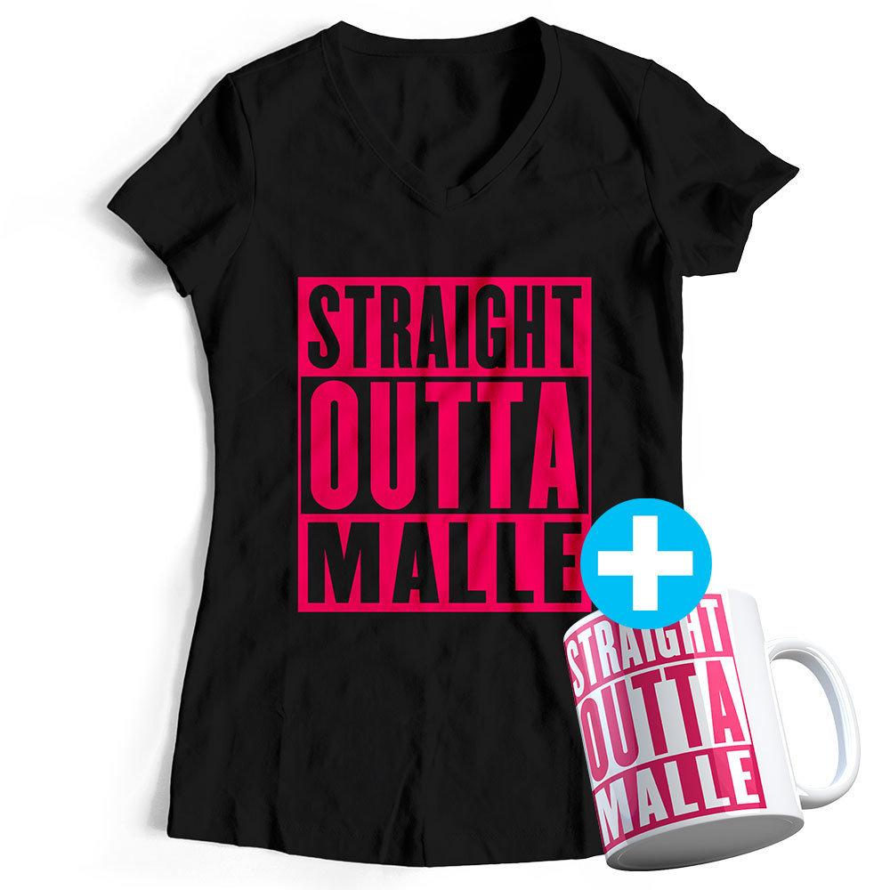 Straight outta Malle T-Shirt (Damen) inkl. Keramiktasse 85794