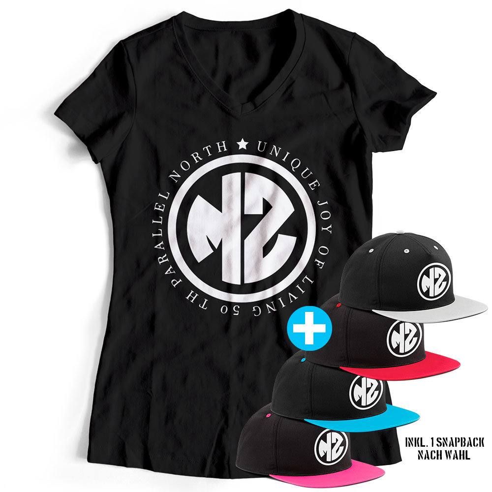 "T-Shirt ""MZ - Unique joy of living"" inkl. Contrast Snapback (Damen) 11902"