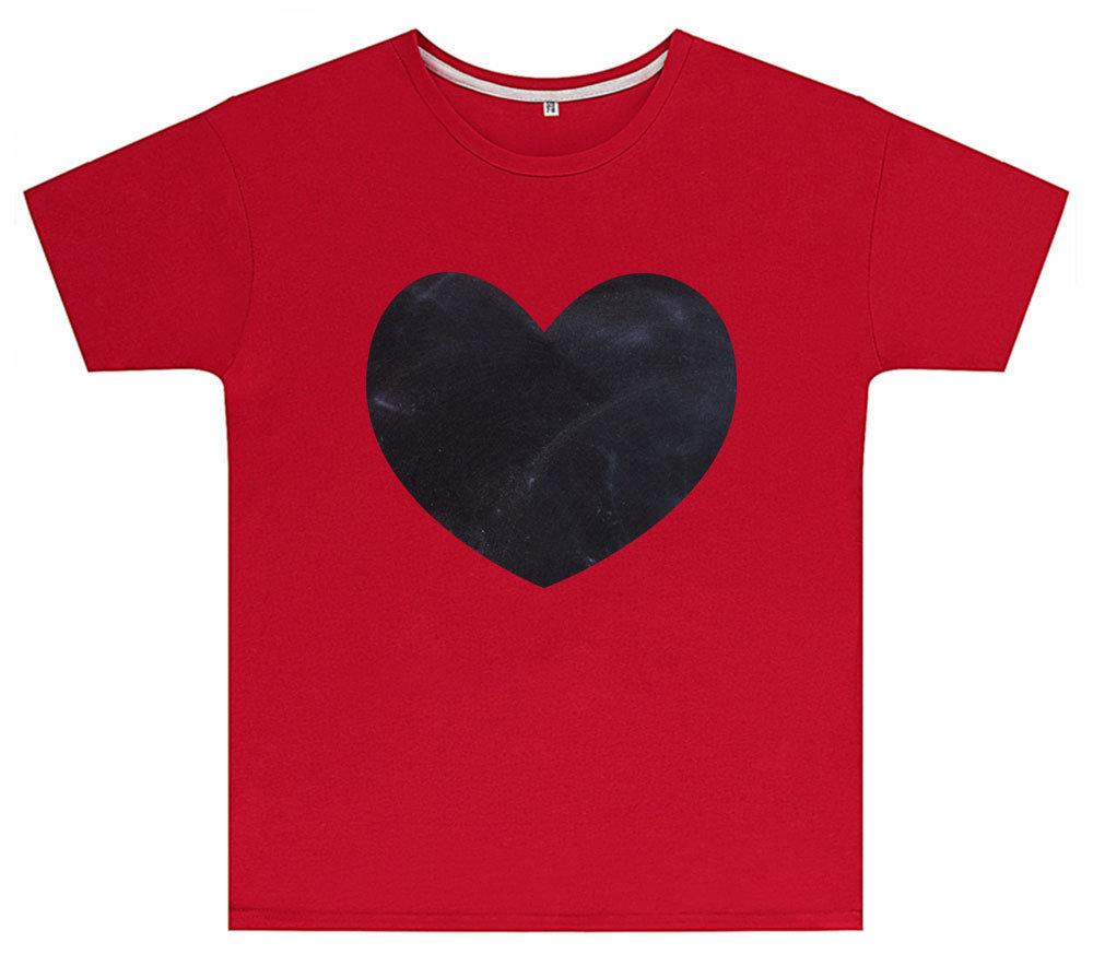 Kreideshirt mit Herz-Motiv inkl. 12er-Pack Kreide 91939