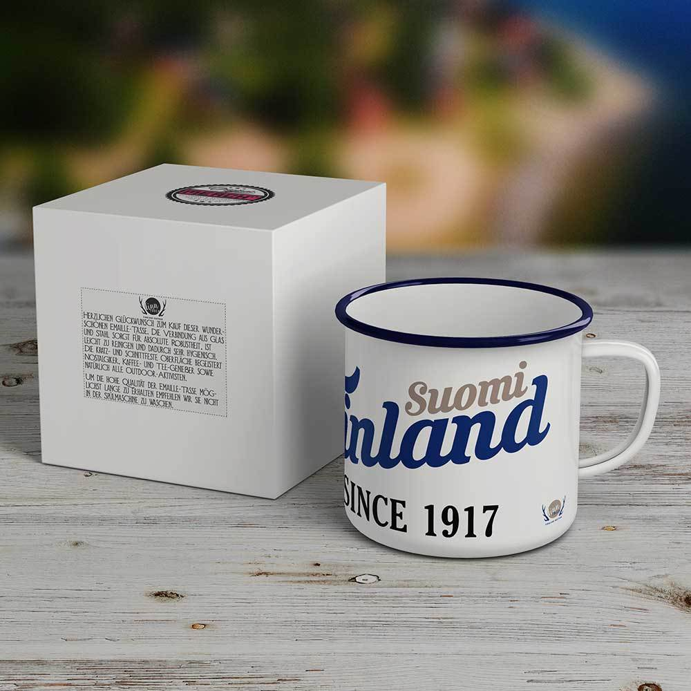 """Suomi Finland - since 1917"" Emaille-Tasse M1-FT 83100"