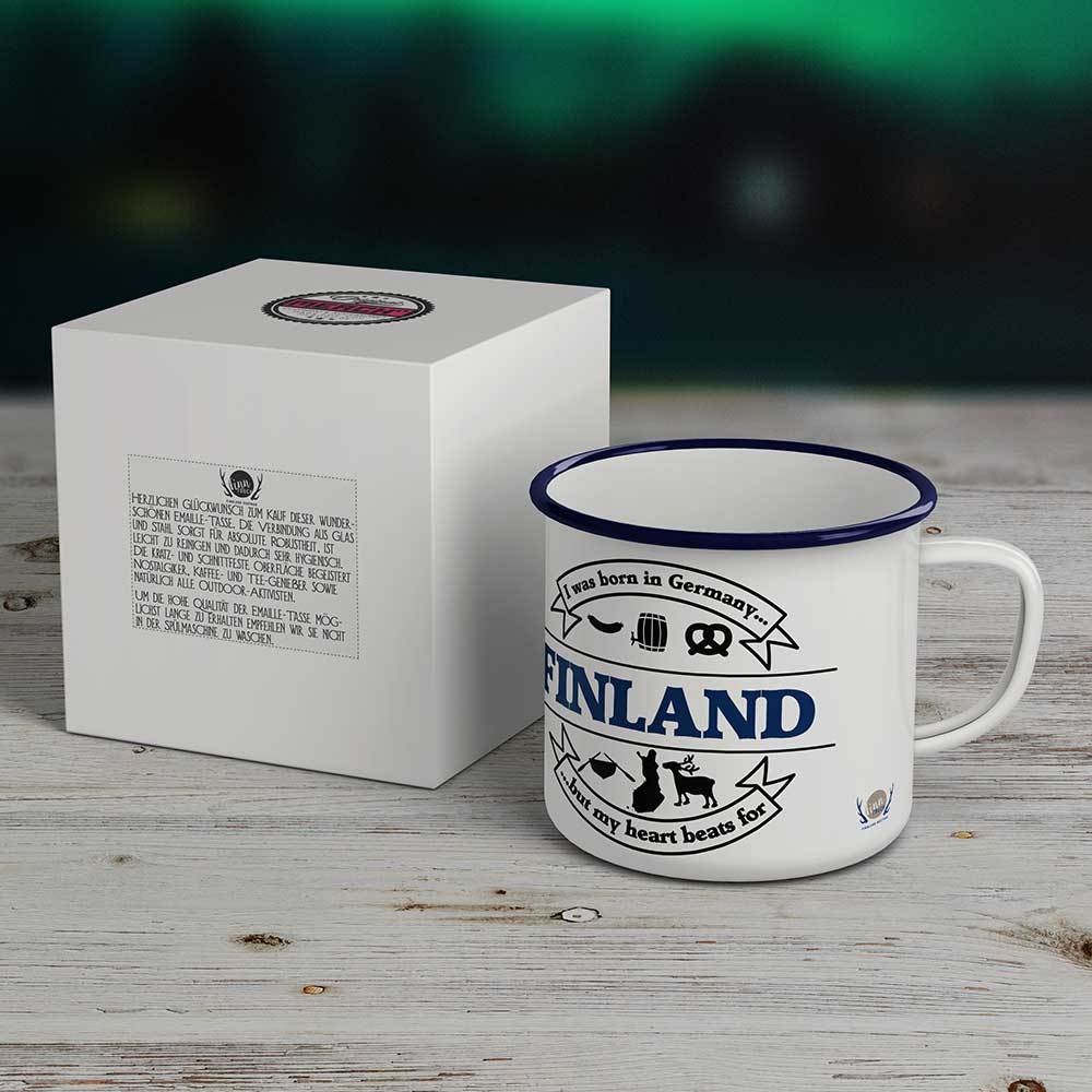 """""""I was born in Germany, but my heart beats for Finland"""" Emaille-Tasse M1-FT 19945"""