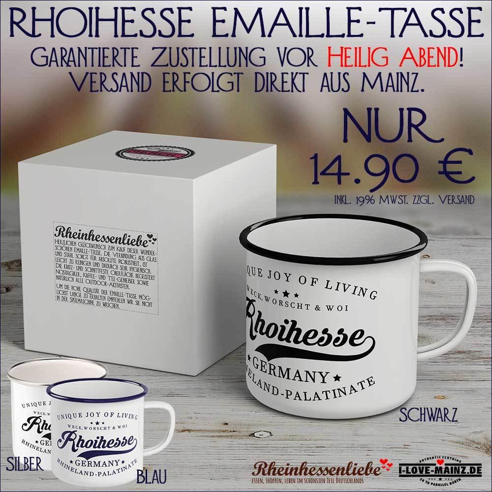 """""""Weck, Worscht & Woi - Rhoihesse"""" Emaille-Tasse M1-RHL 62072"""