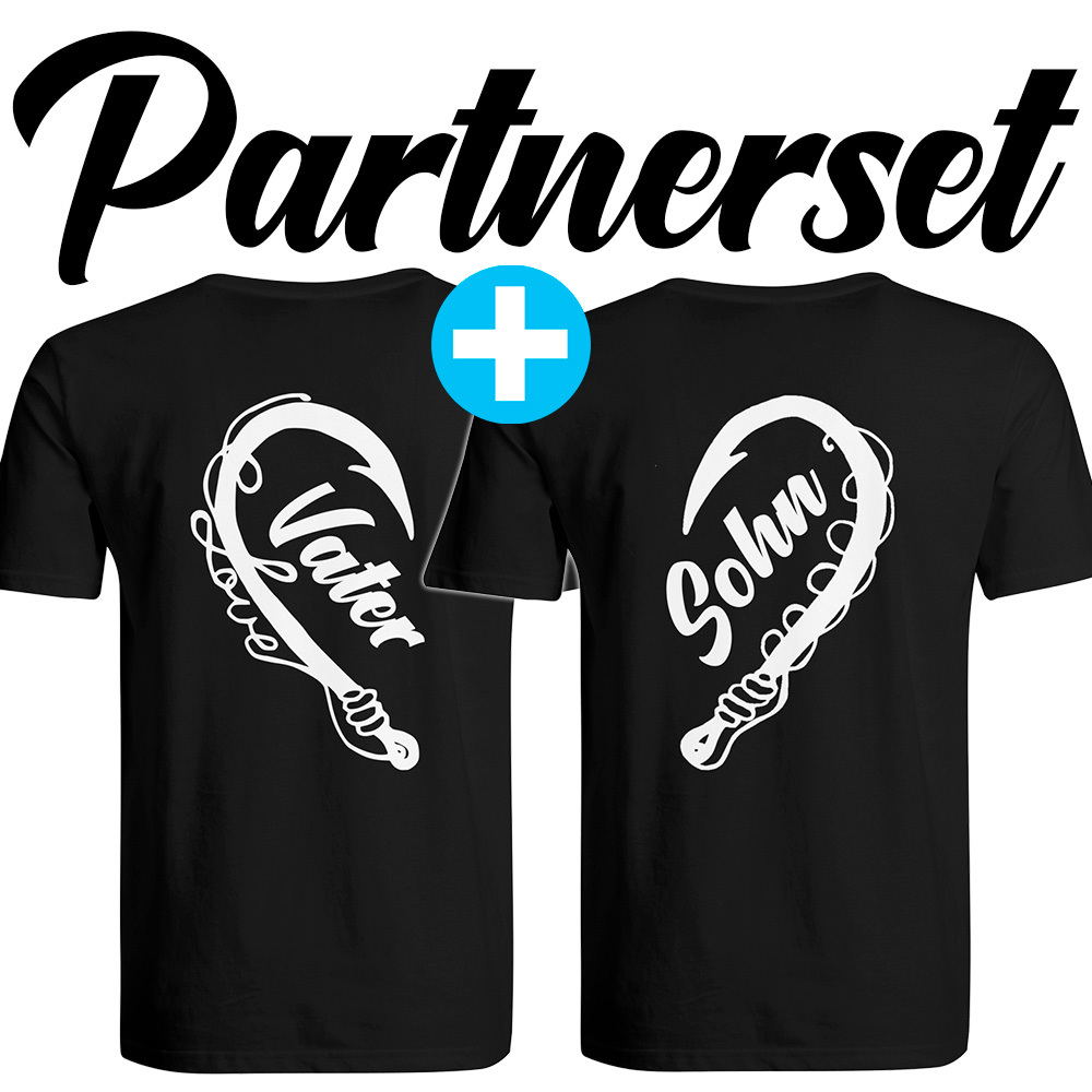 """Angler & Angler / Vater & Sohn"" T-Shirt Partnerset (Kindergröße 90 bis XXXL) M1-AA 99823"
