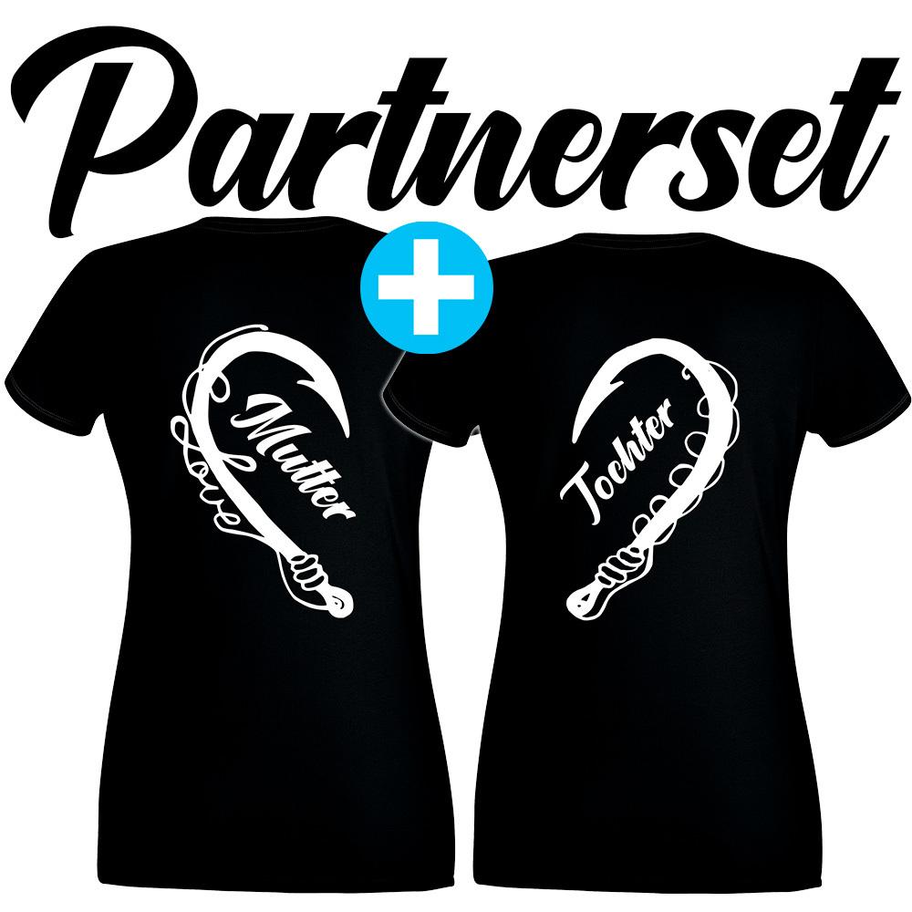 """""""Anglerin & Anglerin / Mutter & Tochter"""" T-Shirt Partnerset (Kindergröße 90 bis XXL) M1-AA 70029"""