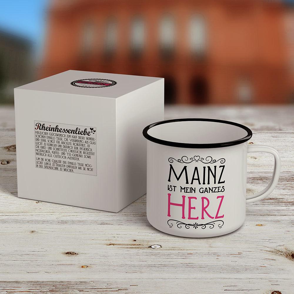 """""""Mainz ist mein ganzes Herz"""" Emaille-Tasse M1-RHL 28309"""