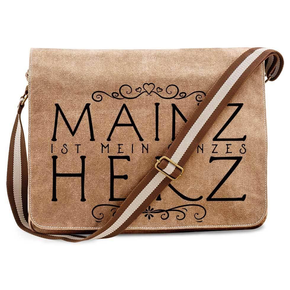"""""""Mainz ist mein ganzes Herz"""" Premium Messengertasche im Vintagelook 91976"""