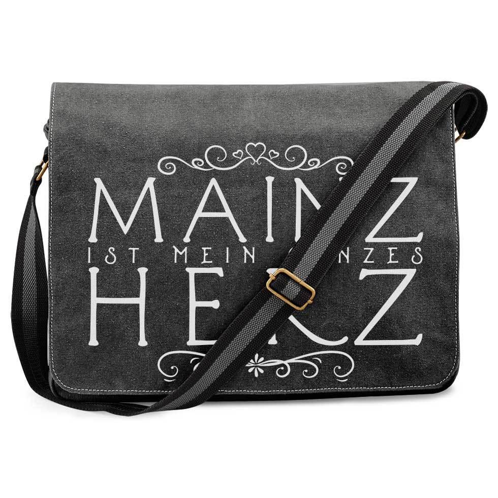 """""""Mainz ist mein ganzes Herz"""" Premium Messengertasche im Vintagelook"""