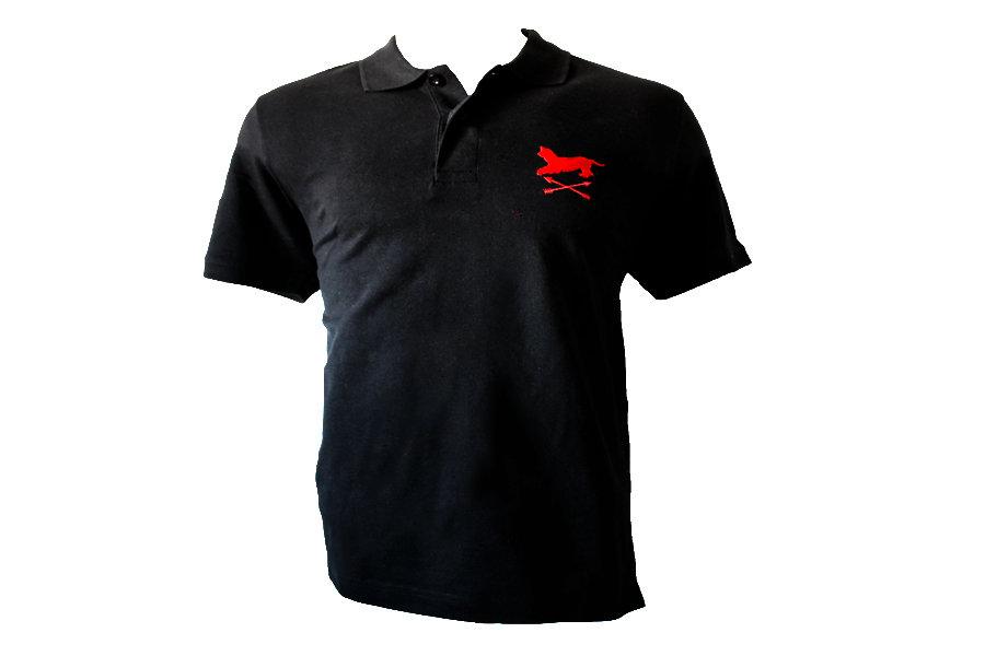 Polo negro bordado Alano&Flechas 00014