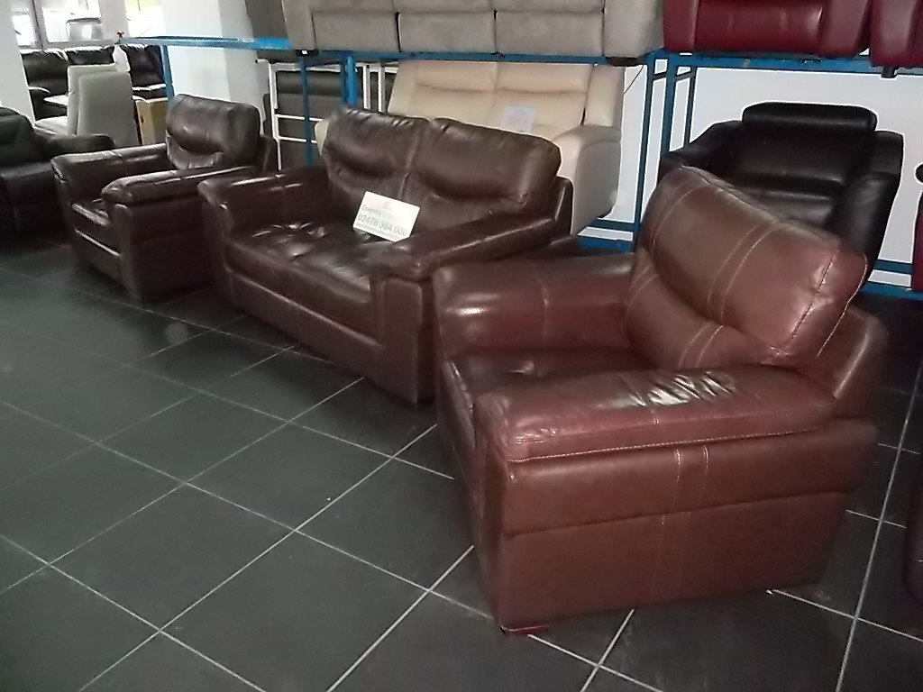SCS DAYSON 2 SEATER + 2x ARMCHAIR'S REAL LEATHER BROWN