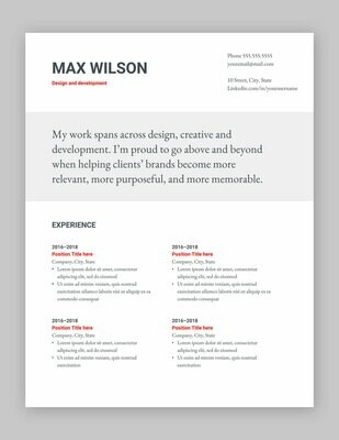 Google Docs resume template | Modern | English