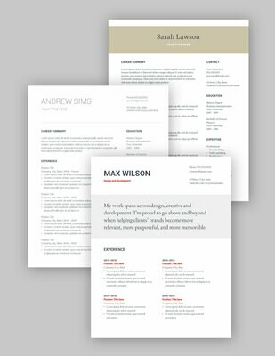 3 Google Docs resumes | ALL TEMPLATES | English