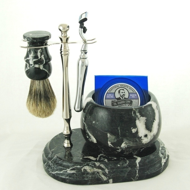 5pc. HAND CRAFTED MARBLE SHAVE SET  in Black (Zebra) #251C