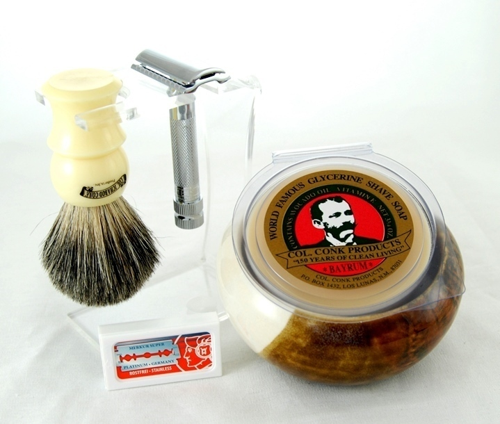 DE SHAVE SET 6PC. with HD Razor & Clear Stand #299