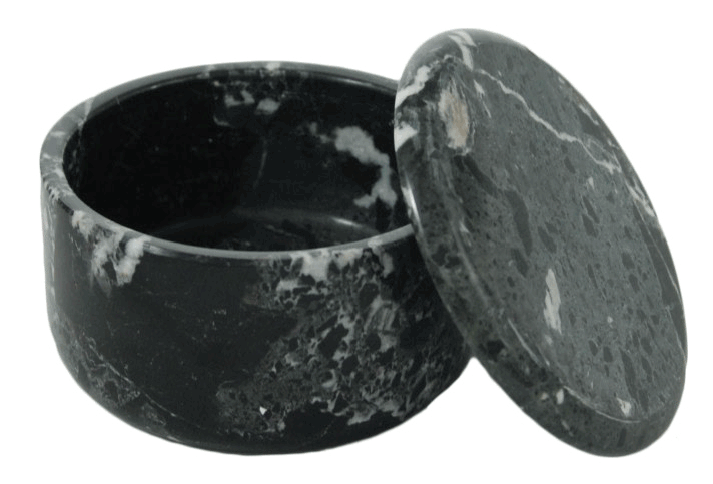 LARGE COVERED MARBLE BOWL in Black (Zebra)#182MB