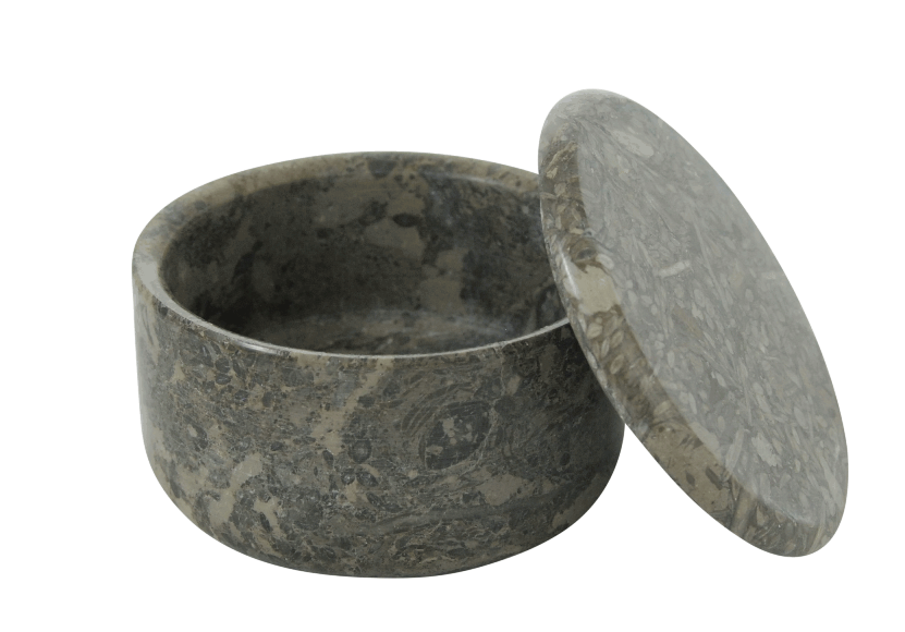 LARGE COVERED MARBLE BOWL in Stone Color #182S