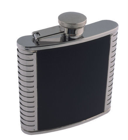 LEATHER TRIMMED 5 OZ. FLASK   #1205