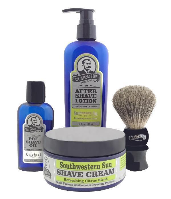 SOUTHWESTERN SUN 4PC SHAVE KIT with Cream & Brush #4012
