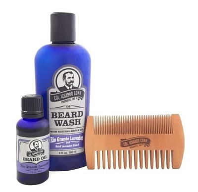 RIO GRANDE LAVENDER BEARD KIT - with 2 sided comb #4050