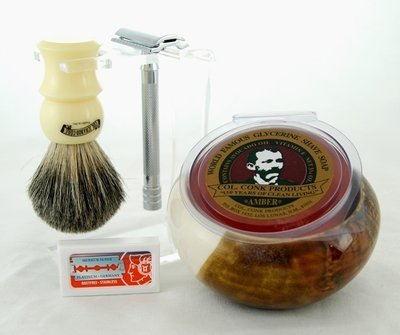 DE SHAVE SET 6PC. with Clear Stand #298