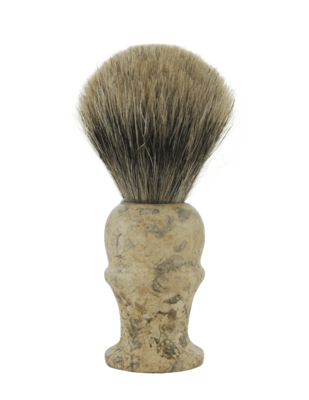 PURE BADGER SHAVE BRUSH, MARBLE FOSSIL HANDLE #160F