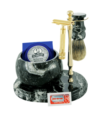 6pc. HAND CRAFTED MARBLE SHAVE SET in Black (Zebra) #251G-DE