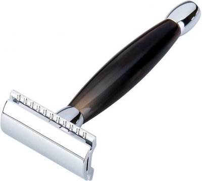 Merkur Safety Razor with African Cowhorn Handle #27001